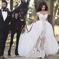 Romântico de Rendas Do Vestido de Casamento com Trem Destacável Saia Removível Ver Através Sexy vestido de Casamento Vestido de Casamento vestido de noiva