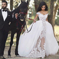 Romantic Lace Wedding Dress with Detachable Train Removable Skirt See Through Sexy Wedding Gown Casamento vestido de noiva