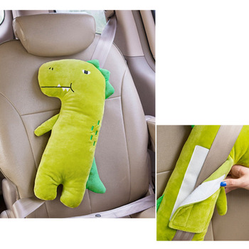 Baby Car Seat Belt Cover Cartoon Plush Kids Children Pillow Shoulder Pads Safety Positioner Padding Waist Cushion Styling image