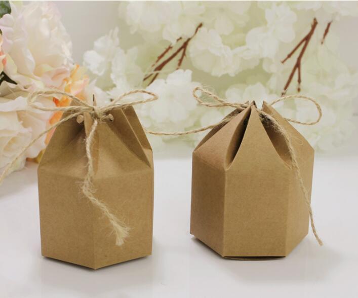 50 pcs/set Creative  Kraft Paper package cardboard box lantern hexagon craft gift candy Christmas packaging paper