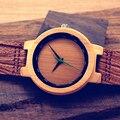 2017 bobo bird reloj de los hombres relojes con banda de cuero genuino de lujo de madera de bambú hecha a mano reloj de pulsera relogio masculino c-d17