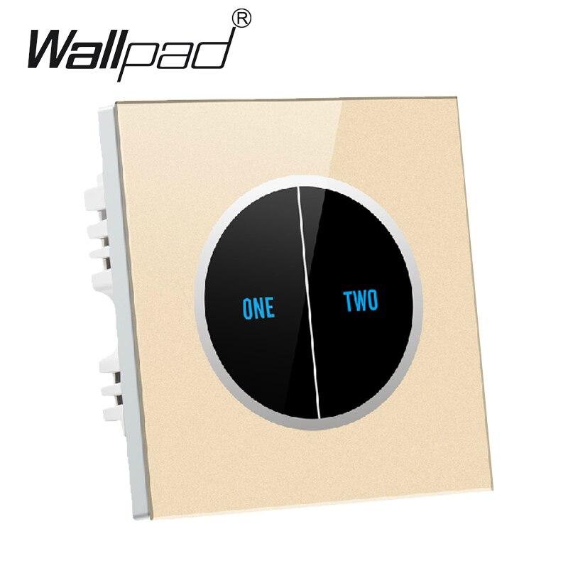 Panneau en verre imperméable de luxe d'or 2 gangs1 commutateur de lumière de contact de manière, 110 V ~ 250 V commutateur tactile de mur, Logo de conception libre livraison gratuite