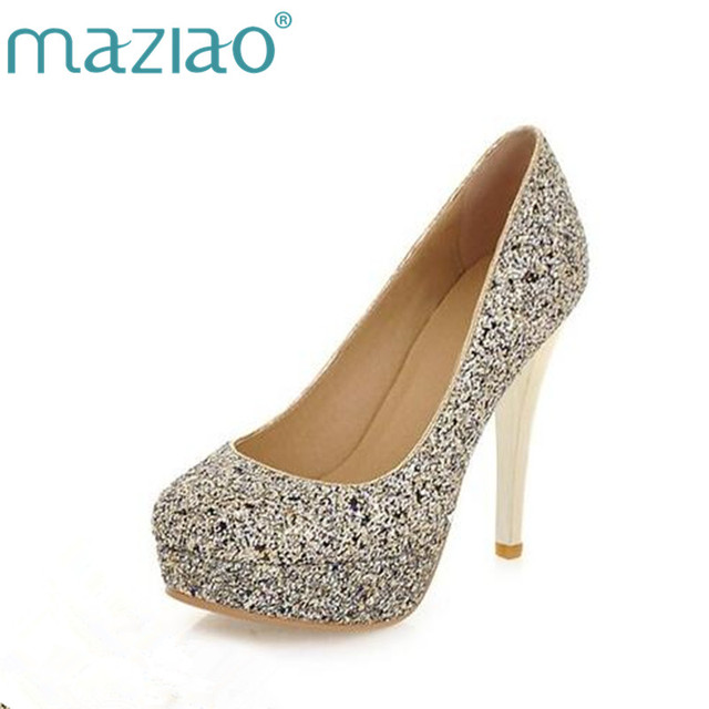 MAZIAO Большие размеры 34-43, женские свадебные туфли-лодочки на высоком  каблуке d37485e1b3a