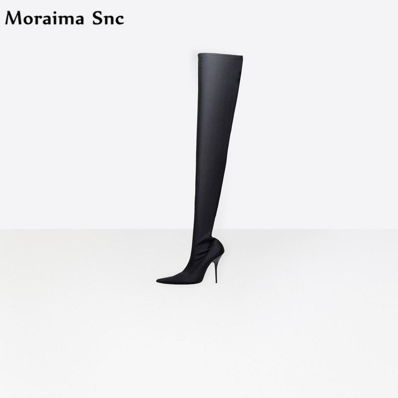 Moraima Snc Spring Autumn fashion women Boots pointed toe over-the-knee Gladiator boot high heel solid thin heel slip-on cicime summer fashion solid rivets lace up knee high boot high heel women boots black casual woman boot high heel women boots