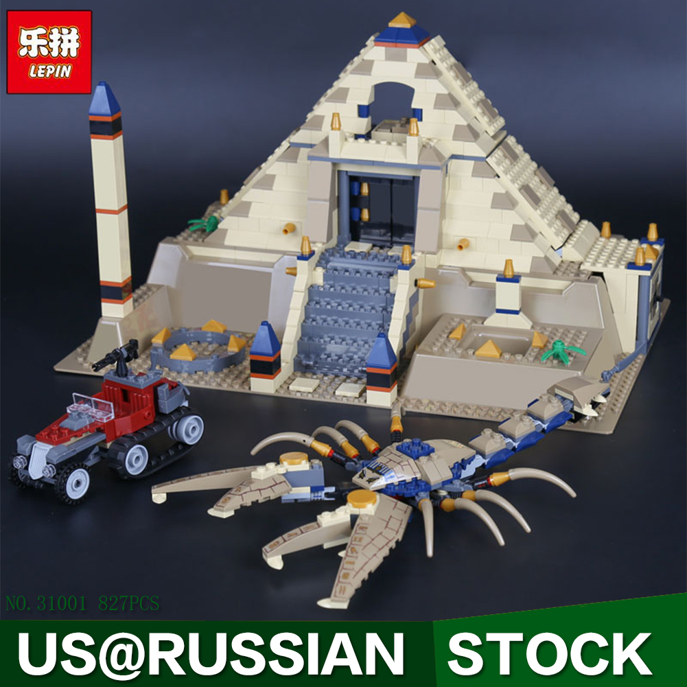 Lepin 31001 Egypt Pharaoh Series The Scorpion Pyramid 827Pcs Children Educational Building Blocks Bricks Toys Model Gifts 7327 the red pyramid