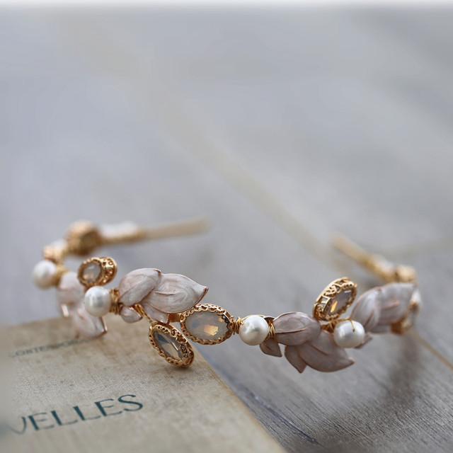 Vintage Freshwater Pearls Gold Leaf Opal Wedding Hair Band Headband Tiara Bridal Headpiece Hair Accessories Women Jewelry