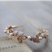 Vintage tatlı su incileri altın yaprak Opal düğün saç bandı kafa bandı Tiara gelin başlığı saç aksesuarları kadınlar takı