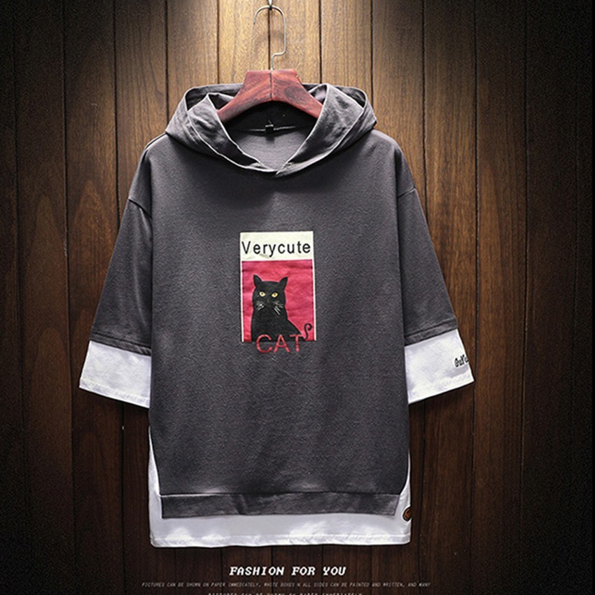 2018 Spring New Fake Two Casual Hooded Mens Hoodie Cuff Stitching Men Hoodies Fashion Mens Cat Head Print Large Size Men Hoodie