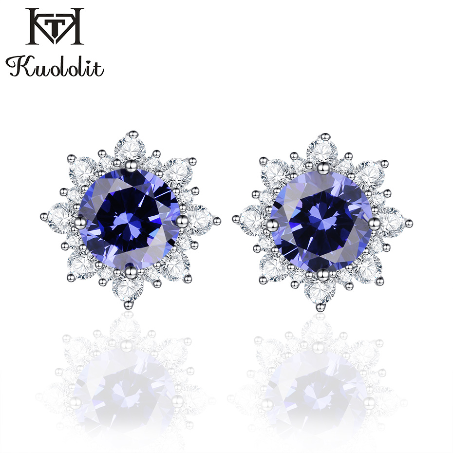 Kuololit Stud Earrings For Women 100% Solid 925 Sterling Silver Created Tanzanite CZ Christmas Jewelry Engagement Gift Fashion