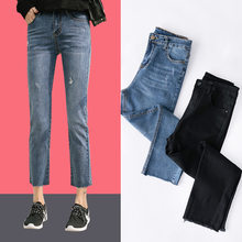 Women Vintage Boyfriend Straight Jeans 2019 Spring Streetwear High Waisted Casual Denim Blue Black Pants Plus Size(China)