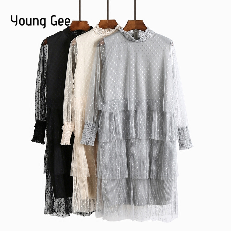 Young Gee 2018 Spring Female Twinset Womens O-neck Long Sleeve Polka Dots Multi-layer Lace Mesh Pleated Cake Dresses robe femme