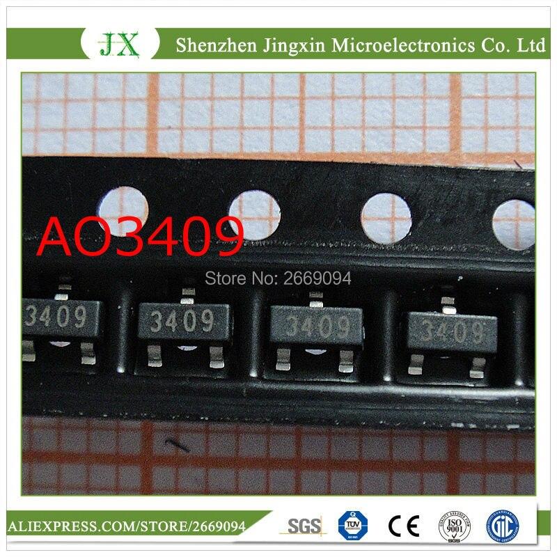 Бесплатная доставка 50 шт./лот AO3409 3409 MOSFET P-CH 30В 2.6A SOT23 IC лучшее качество.