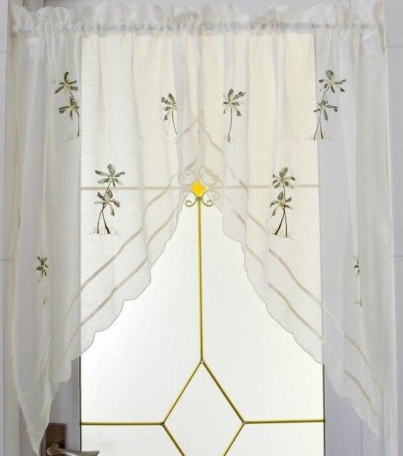 Cáñamo bordados corta blanca cocina triangular cortina para la ...