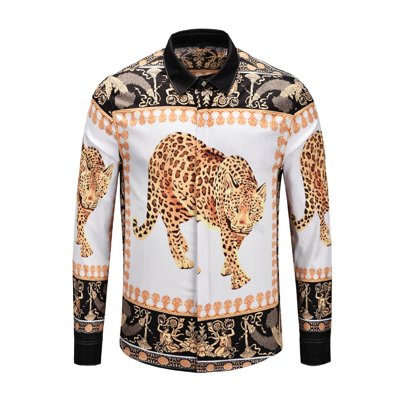 Leopard Print Shirts Dress Men Long Sleeve Steer Panther Shirt Silk Tiger Shirts Manle Blouse Party Club Hip Hop Tops