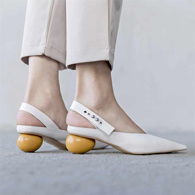 FEDONAS 2020 Genuino Scarpe di Cuoio della Donna Pompe Cinturino Alla Caviglia Sandali Tacco Alto Scarpe Da Punta a punta Delle Signore Abito Da Sposa Pompe