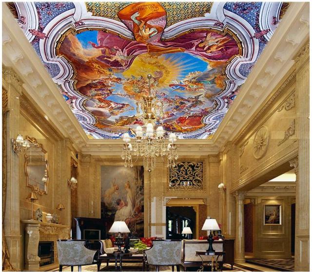 WDBH custom 3d ceiling murals wallpaper European classical Notre