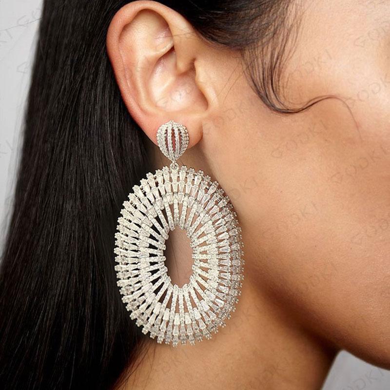 GODKI Luxury Super Big Long Dangle Earrings for Women Wedding Full Micro CZ Cubic Zircon Dubai
