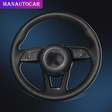 Car Braid Steering Wheel Covers for Audi A4L Leather Interior Accessories Car-styling Auto On The Cover