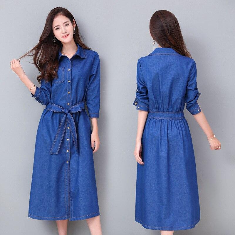 Printemps 2019 nouveau Mince denim à manches longues robe était mince femelle gamme littéraire rétro bleu robe chemise