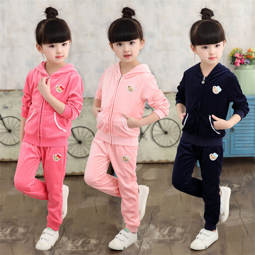 Fashion girls clothes sets velvet clothes set girl sport suit kids long sleeve hoodie + pant solid color bear  europe hot sale baby girls long sleeve velvet plaid top pant suit fashion childrens casual clothes princess clothing 16d1224