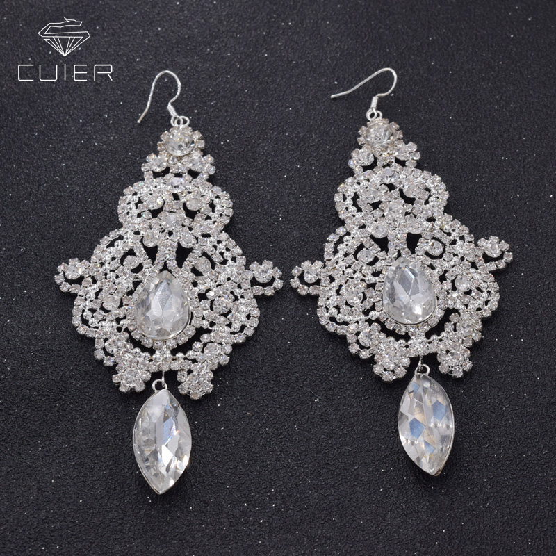 Glass Strass Crystal Earrings For Bridal Rhinestones Dangle Earring Drop For Wedding Silver Plated