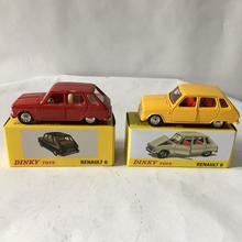 2pcs SUIT Rare Dinky Toys New Editions 1:43 1416 Renault 6 Alloy Diecast Car & Model Collection Yellow Red