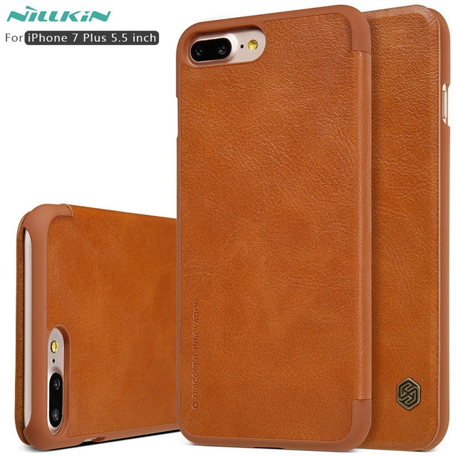 new product e674b 7d335 US $9.89 |Case For iphone 8 Plus Nillkin Qin Series PU Leather Flip Case  Cover for Apple iPhone 7 Plus 5.5 inch Genuine Flip Leather Case-in Flip ...