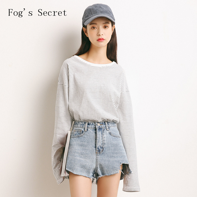 f50c9e02e Women Loose T shirt Clothes Pullovers Big size Casual Simple Striped ...