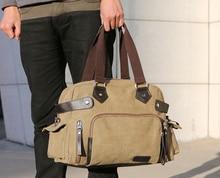 Купить с кэшбэком New Men Canvas Travel Bag Portable Tote Shoulder Travel Bags Big Weekend Bag Vintage Duffel Valise Multifunctional Travel Bags