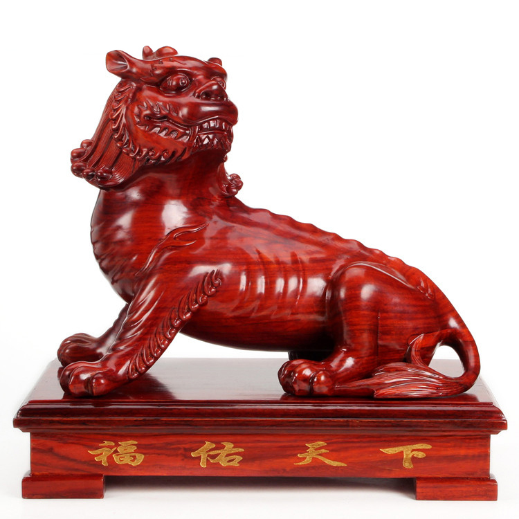 Dongyang Wangcai crafts mahogany carving wood quality brave feng shui ornaments lucky animal Home Furnishing decoration