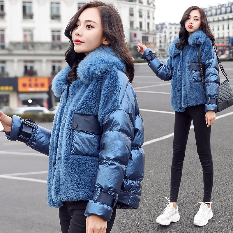 Trend Splice Lamb Wool Short Jacket Winter Women Large Fur Collar White Duck   Down     Coats   2019 New Arrival Womens   Down   Jacket