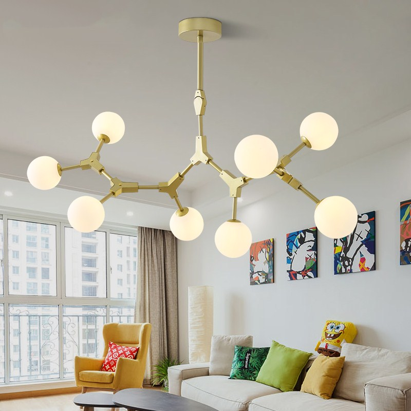 Nordic Pendant Light Metal Gold Branching Hanglamp Glass Ball LED Pendant Lamp for living room Light Fixtures luminaria LightingNordic Pendant Light Metal Gold Branching Hanglamp Glass Ball LED Pendant Lamp for living room Light Fixtures luminaria Lighting