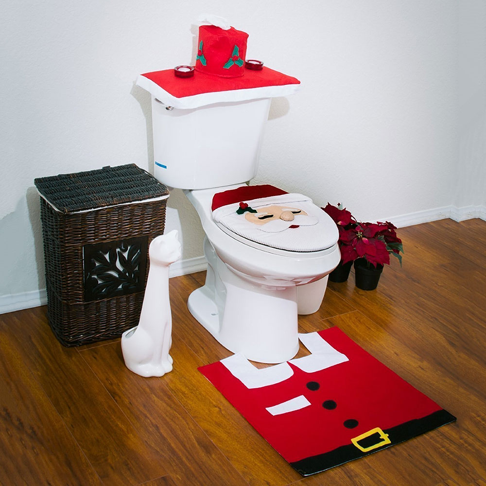 3Pcs Set Christmas Santa Toilet Seat Cover Bath Mat Holder Lid Claus Rug Bathroom Decoration Gift In Covers From