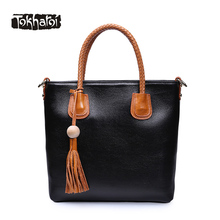 Tokharoi Women Genuine Cow Leather Handbag Beading Tassel Solid Luxury Casual Tote Colorful Embroidery Strap Bag for Women 2017