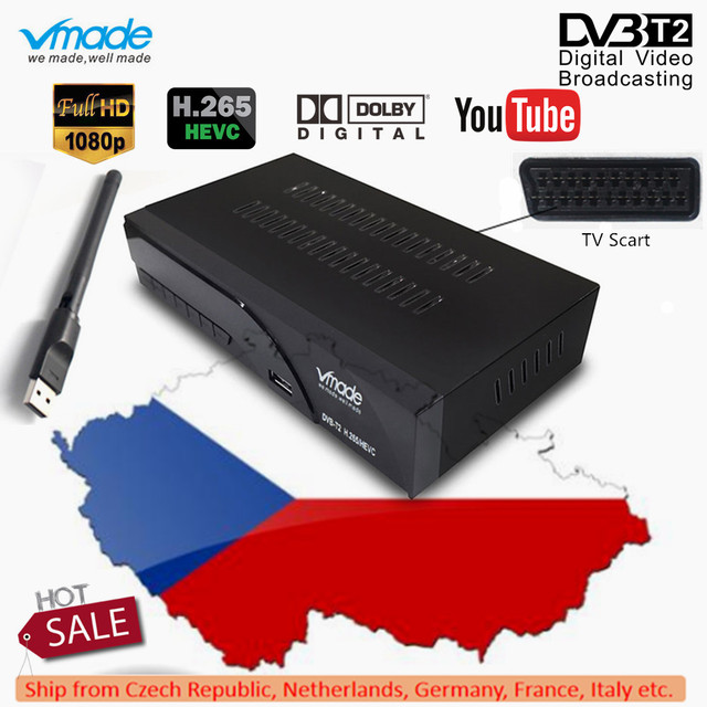 Vmade DVB T2 K6 scart Digital Terrestrial TV Receiver Fully HD 1080p H.265 / HEVC Support Dolby AC3 DVB T2 Set Top Box+USB WIFI