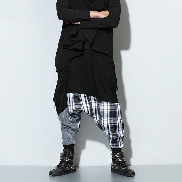 Homens de grande porte calça casual splice harem pants dos homens de alta qualidade hip hop soltas calças de dança calças saia de moda k9801