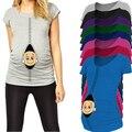 Peek-a-boo Nueva mamá camisa de maternidad para las mujeres embarazadas más el tamaño de alta calidad del tamaño grande de Europa de embarazo ropa