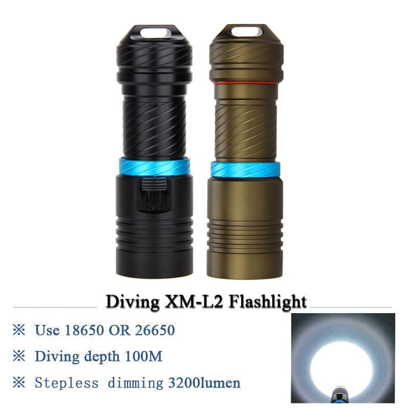 5000LM Lamp XML L2 LED Flashlight Scuba Diving Underwater 500M Torch Waterproof