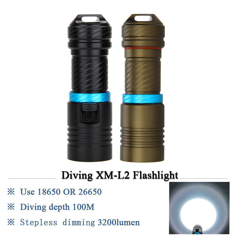 Powerful underwater flashlight led scuba diving lanterna xml l2 waterproof led torch dive light 18650 26650 rechargeable battery scuba dive light