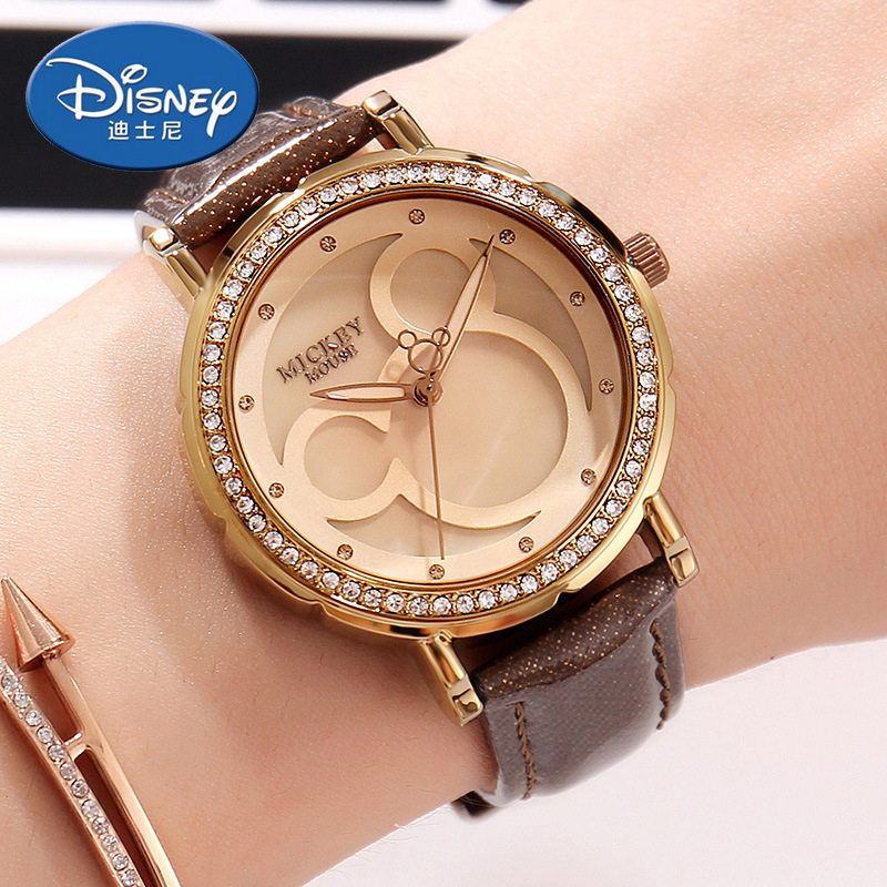 Disney Kids Watch Women Watch Fashion Quartz Wristwatches Girls Mickey Mouse Gift Leather clock Genuine Brand