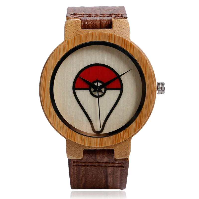 2016 Trendy Anime Pokemon Pokeball Pattern Quartz Wooden Bamboo Wrist Watch Vintage Jewelry Metal Cosplay Gift Genuine Leather