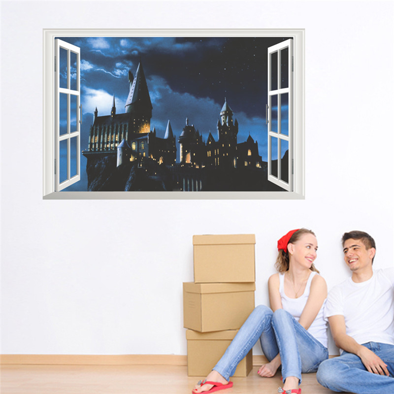 Harry Potter Castle 3D Effect Window Decor Hogwarts Wall Stickers Wizarding World School For Kids rooms Bedroom Decal Poster  sc 1 st  AliExpress.com & 3d window castle wall sticker decal harry potter pvc wall decals ...