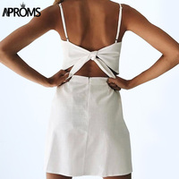 Aproms Back Tie Up Bow Summer Dress Women Sundress Elegant Linen Dress Slim Fit Bodycon White