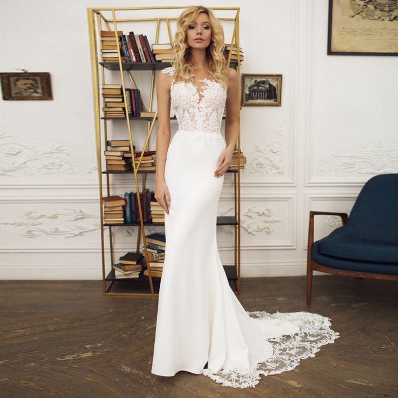 f0d695c20f93 LORIE Boho Wedding dress O-Neck Appliques Lace Mermaid Wedding Gown with  Small Train White Ivory Beach Bride ...