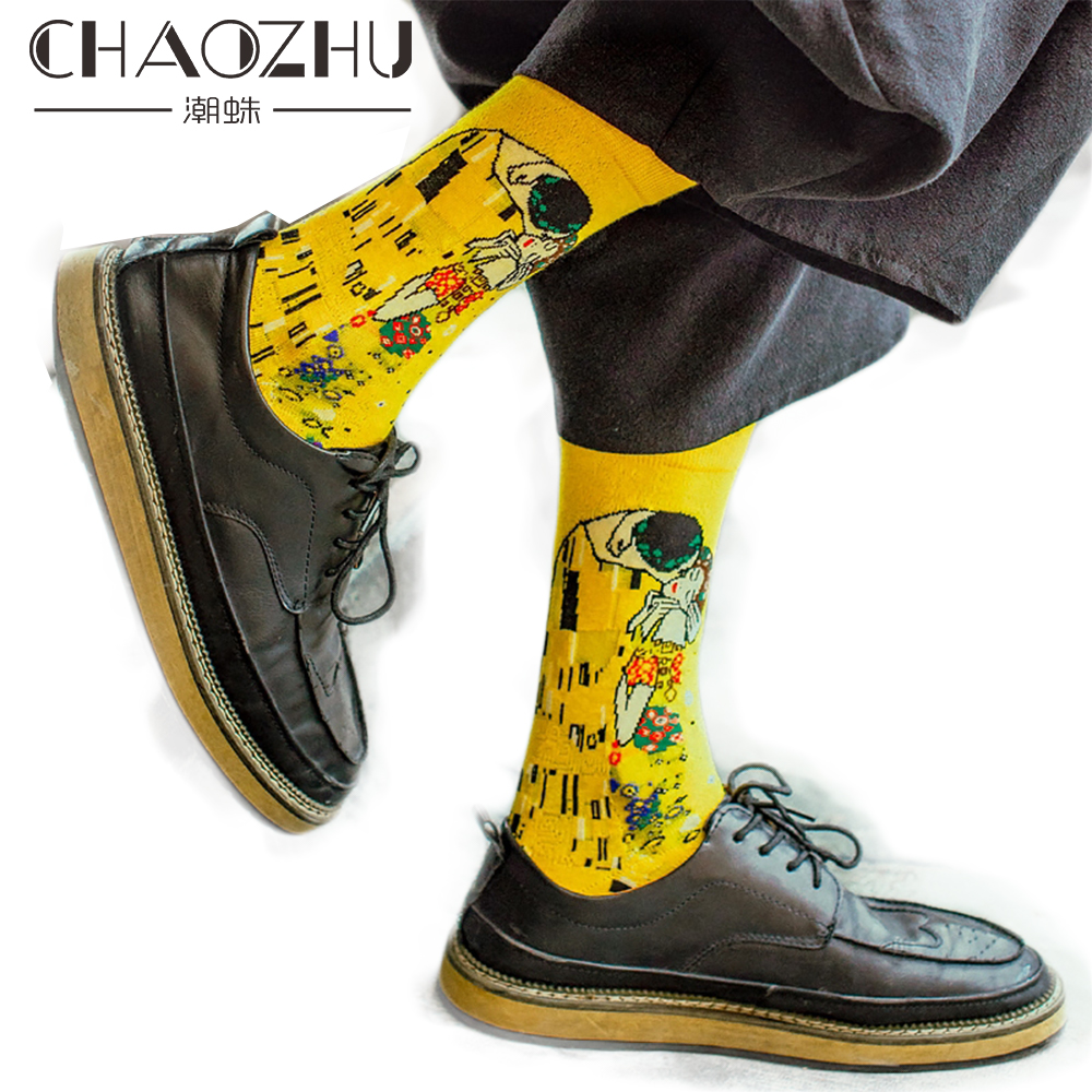 CHAOZHU Men's Art Socks Multi-colors Crew Socks Mona Lisa Sunrise World Famous Oil Painting Art Men's Jacquard Long Sox