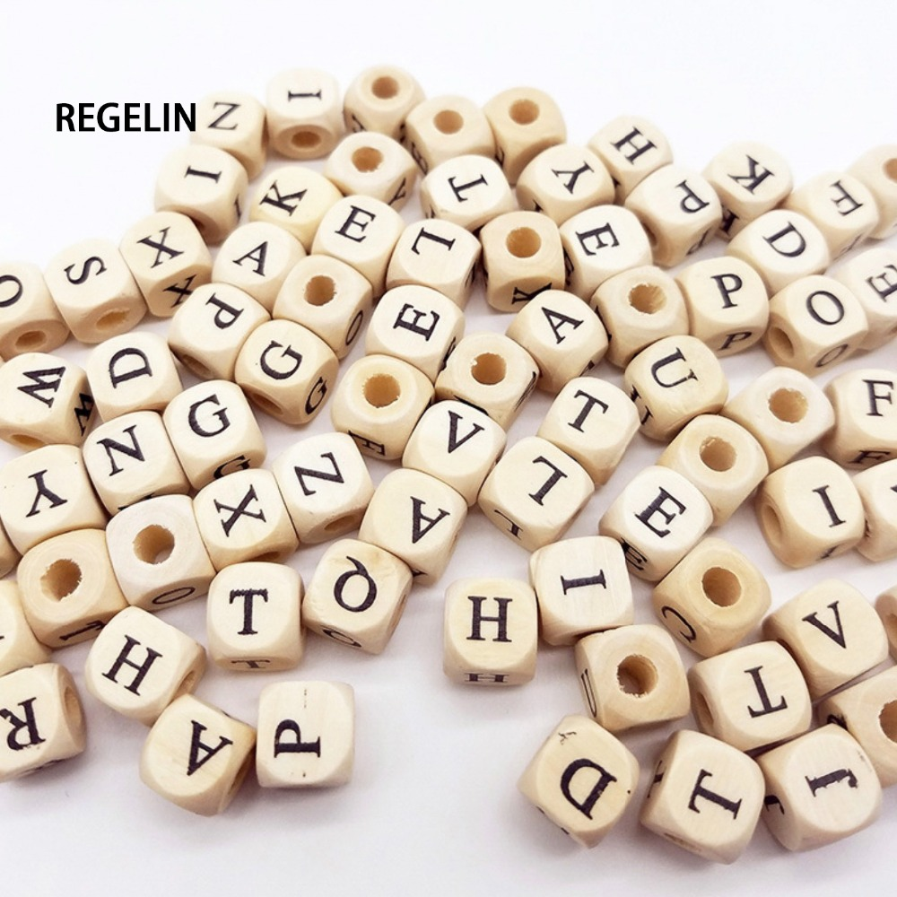 Jewelry & Accessories 8mm Square Natural Wooden Letter Beaded For Kids Bracelet Making Cube English Alphabet Wood Beads Wholesale W301 2019 Latest Style Online Sale 50%
