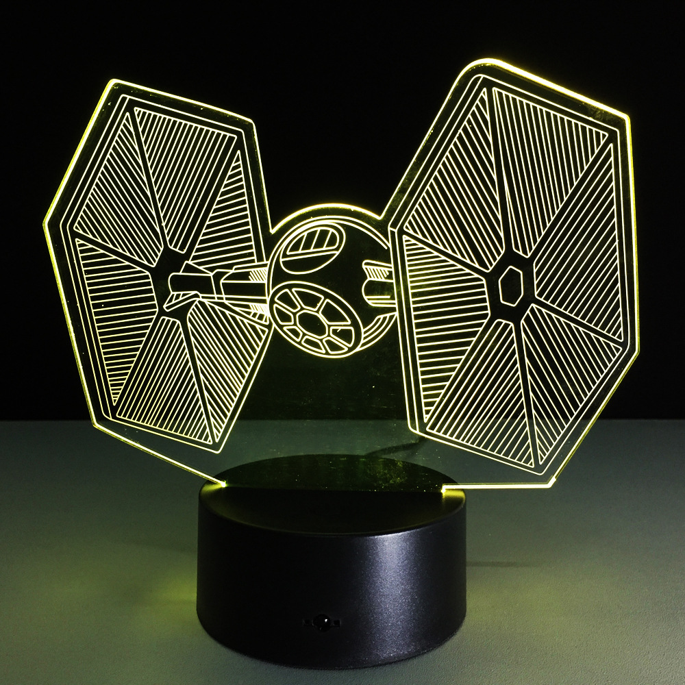 Star Wars Tie Fighter Lamp 3D Baby Light novelty toy lamp 7 color changing visual illusion LED Star Wars toy action figure gift