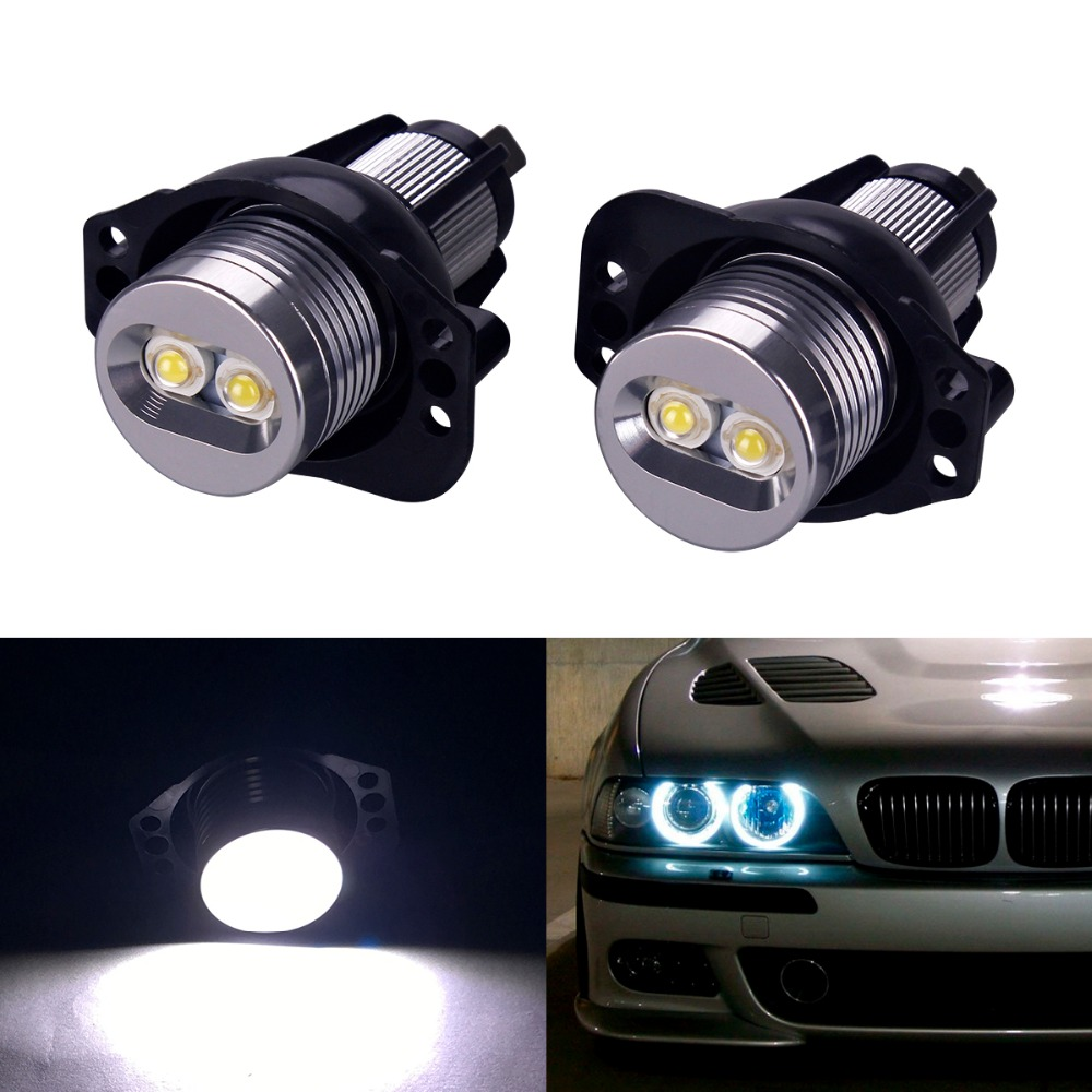 2Pcs High Power LED Chip Marker Angel Eyes Halo Ring Light Lamp Bulbs Error Free White Bulbs For BMW E90 E91 3-Series 2 pieces high quality new 2x 80w led marker angel eyes bulbs case for bmw e92 h8 error free