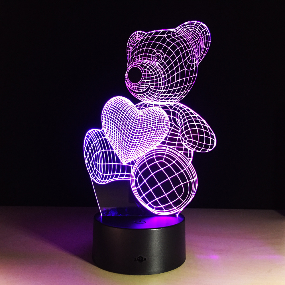 US $16 38 35% OFF|New Kids Birthday Gift Cartoon Cute Heart Bear Shape  Acrylic LED Lamp 3D Led Light Baby Bedroom Home Decoration Party  Supplies-in