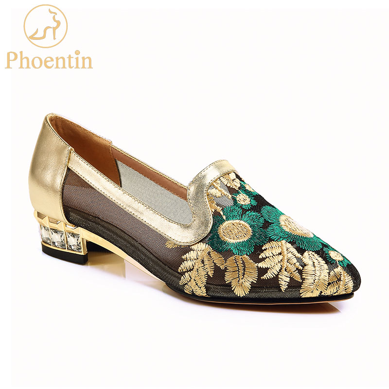 Phoentin shose women embroider flower low square heels with crystal lace mesh gold shoes 2019 comfortable